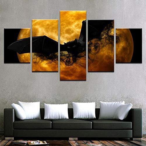 hdmfl Modulare HD Print Home Decor 5 Stücke Halloween Hintergrund Leinwand Malerei Wandkunst Bild
