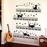 HhGold Personalisierte Schlafzimmer Wand der Klaviertastatur zu entfernen Noten Musik Unterricht Kindergarten Musik Musikinstrument Piano Zimmer Aufkleber, Klavier die Katze