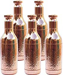 Set of 5 Copper Yoga Water Bottle,Hammered Copper Champagne Bottle,6000ML -Handmade,Joint Free & Leak Proof for Ayurvedic Health Benefits.