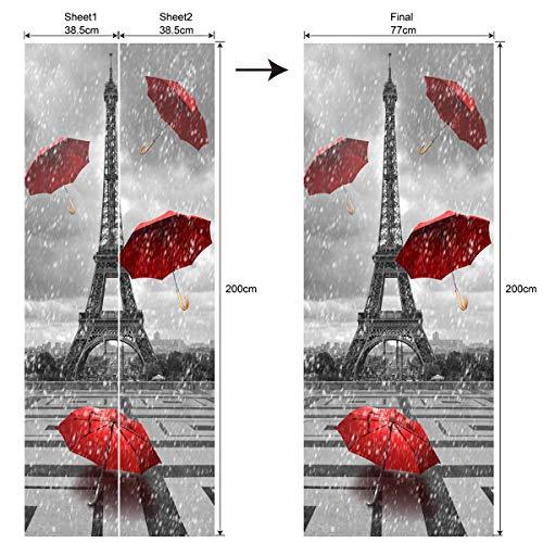 Ancoree 3D DIY Torre Eiffel Paraguas Rojo Bajo Lluvia