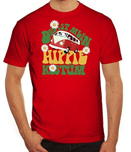 Fasching Karneval Herren T-Shirt mit Das ist mein Hippie Kostüm Motiv von ShirtStreet, Größe: (Kostüme Hippie Männer)