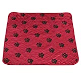 Fdit Socialme-EU Alfombrilla de Riegue Reutilizable Impermeable de Orina de Cama de Cojín de PIS para Gatos de Perros de Animal Doméstico(80 * 90cm-Rojo)