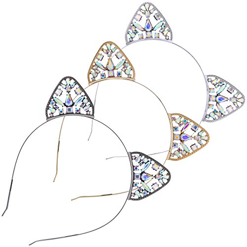 Babeyond Katzenohren Haarreif Set Blinkende Kristall Damen Katze Haarreif Schwarz Gold Silber Kostüm Cosplay Party Accessoires Mädchen Selfie Accessoires (3 Packs)