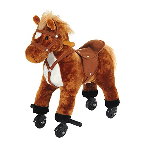 HOMCOM Wooden Action Pony Wheeled Walking Horse Riding Little Baby Plush Toy Wooden Style Ride on Animal Kids Gift w/Sound (Brown)
