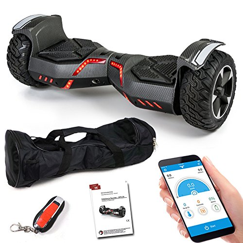 Smartway Balance Scooter 8,5 Zoll 800 W - SUV Ares GPX-04 mit App Funktion, Bluetooth Lautsprecher, Kinder Sicherheitsmodus, Elektro Self Balance Board E-Scooter Hover Wheel (Carbon)
