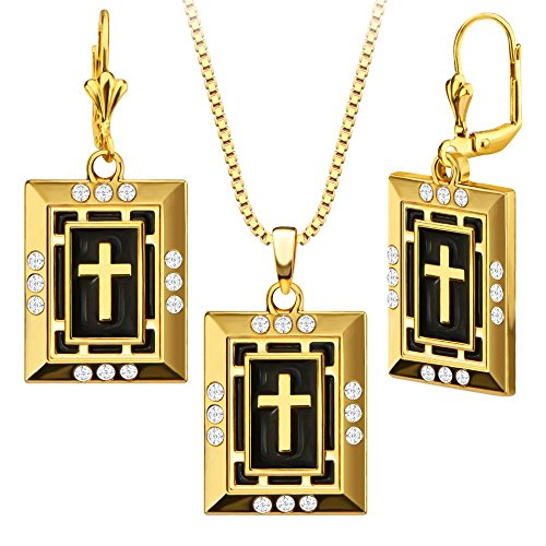 Luxury Simulated Diamond Black Oil 18k Gold Plated Cross Necklace&Earrings Fashion Women Jewelry Set Gift S20167