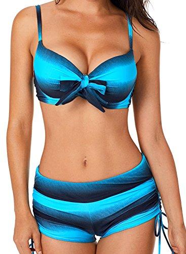 Aleumdr Damen Elegantes Herbst Stripes Sport Top mit Tankini Shorts Blau Größe XL