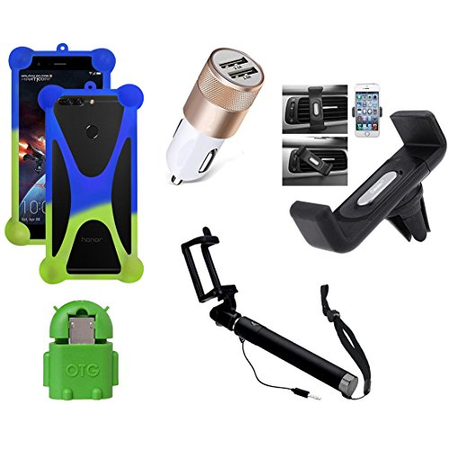 Casotec 5 in 1 Combo offer Car Mount Holder / Mobile Cover / Selfie Stick Monopod / Car Charger / OTG for Samsung Galaxy A5