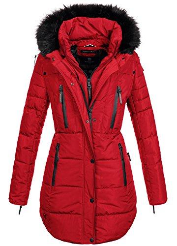 Marikoo warme Damen Winter Jacke Winterjacke Parka Stepp Mantel lang B401 (L, Rot)