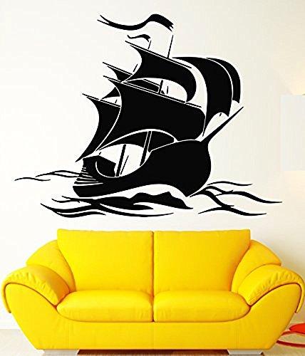 GGWW Ship Wall Stickers Vinyl Decal Sail Ocean Sea Waves Marine (Ig1351)