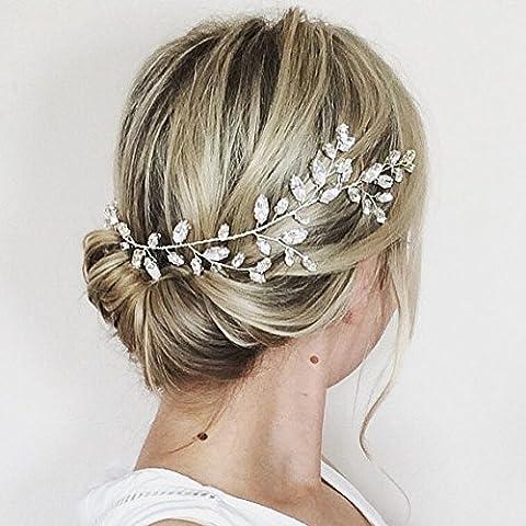 Aukmla Cristal Swarovski Cheveux Vigne Couronne de mariage pour demoiselle d'honneur et honneur Paillette Couronne