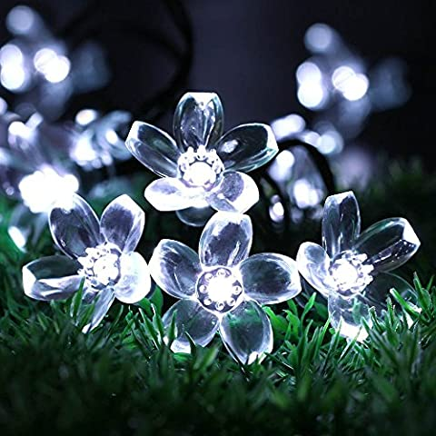 Solar Flower String Lights by RECESKY 50 LED 7m Waterproof Fairy Blossom Decor Lighting for Outdoor Indoor Garden Patio Yard Lawn Path Home House Party Christmas Tree Decorations