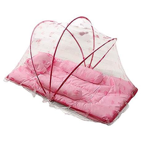 SHOBDW Tente Moustiquaire Bébé Pliant Matelas Mosquito et Oreiller pour Lit de Bébé (Rose)