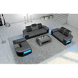 Tela Conjunto de sofá en el Materiales BELLAGIO 3er+ 2er+ Sillón opcional Iluminación LED