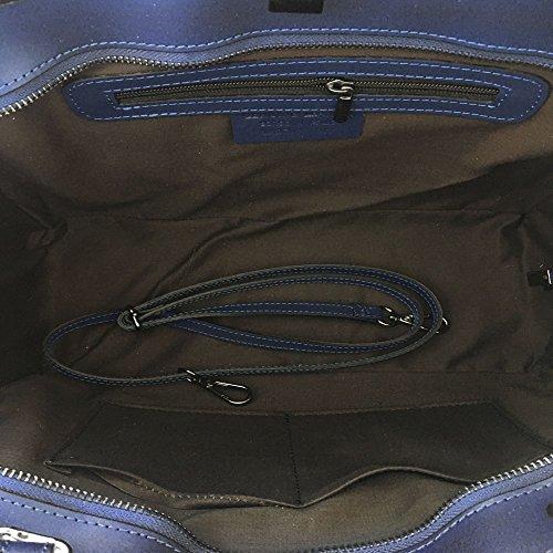 VALERY Handtaschen Schulter tasche, Käufer-Handtasche, robuste glatte lederne Frauen Handtasche, dunkler Felsen-Nickel-Bolzen Rockstud Schwarz