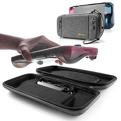 tomtoc [Combo Kit Hartschale Tasche Schutzhülle mit Grip Case Back Cover für Nintendo Switch Konsole und Joy-Con Strap, Tragetasche Aufbewahrungstasche mit 10 Spielkartenfächer