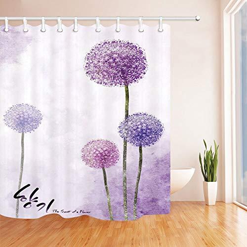 GzHQ Duschvorhang-Set, violetter Pusteblume im Wind, der Duft Einer Blume, schimmelresistent, Polyester, wasserdicht, mit Haken, 180,9 x 182,9 cm, Violett - Lila Duschvorhang
