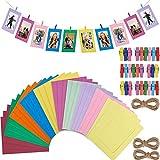 Fashion HW Lot de 30 Cadres Photo en Papier à Monter soi-même avec Clips en Bois et Ficelle en Carton pour décoration Murale de la Maison (Couleur Multiple)