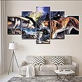 hhlwl Leinwand Malerei tier Wolf schlacht Löwe 5 Stücke Wandkunst Malerei Modularen Tapeten Druck für wohnzimmer Wohnkultur-10x15/20/25cm-frame