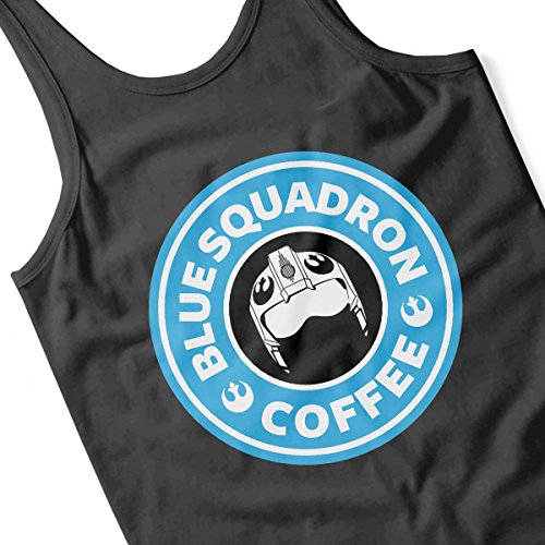 Star Wars Rogue One Blue Squadron Coffee Starbucks Logo Women's Vest Black