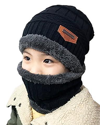 DELEY Unisex-Kinder Mütze Sets Jungen Mädchen Strickmütze mit Circle Schal Ski-Outdoor Sport Winter Warme Mütze Crochet Cap Schwarz