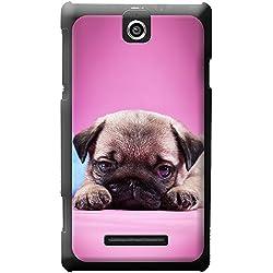Funda color rosa con bebe carlino para teléfonos Sony Xperia E