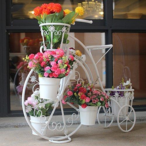 Stand De Fleurs Creative Européenne Vélo Fleur Stand Multi-couche Fleur De Sol Vert Fleur Pot Pot 84 * 32 * 70 cm (Couleur : Blanc)
