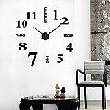 Wanduhren Wandtattoo Dekoration fürs Wohnzimmer Kinderzimmer,Kinderwanduhr Kinder Wanduhr mit lautlosem Uhrenwerk und farbenfrohem Design - Ablesen der Uhrzeit lernen (Schwarz, 10 x 2cm)