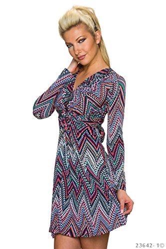Damen langarm Minikleid Kleid Dress in WickelOptik VNeck 4 Farben 36 38  multicolor/rot