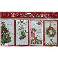 Bargain Gateway - 4 X Traditional 3D Xmas Christmas Money Gift Wallets (XMWT12)