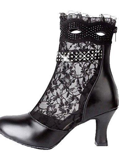 ShangYi Chaussures de danse ( Noir ) - Non Personnalisables - Talon Aiguille - Cuir / Dentelle - Latine