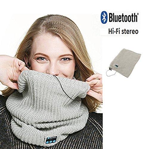 Oumeiou Bluetooth Knitted Halswärmer wilress Schal infinity Kopfhörer Stereo-Lautsprecher, Outdoor, Sport-Neck Gaiter tuber Frauen Mädchen Geschenk, grau, - Infinity Outdoor Lautsprecher