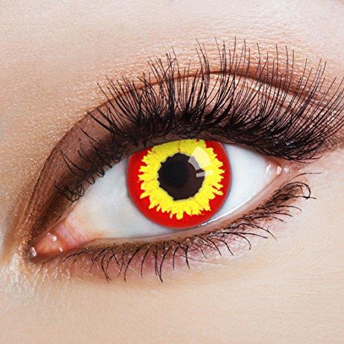 aricona Farblinsen rote Halloween Kontaktlinsen / farbig bunte Jahreslinsen gelb