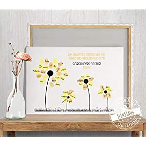 Geburtstag Fingerabdruck-Bild mit Blumen für Fingerabdrücke, Gästebuch-Idee, Papier & Leinwand