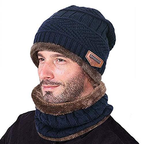 Umipubo cappello uomo invernale berretto uomo in maglia con sciarpa (blu scuro)