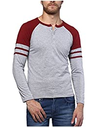 Urbano Fashion Men's Grey & Maroon Full Sleeve Henley Cotton T-Shirt