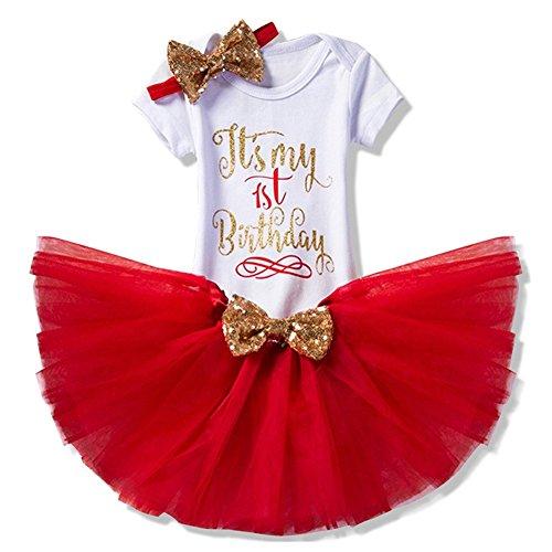 Set 3 Baby Mädchen Kleidung Set Kleinkind Body Strampler Tütü Rock Geburtstag Outfits Glitzer Bowknot Stirnband (Baby Mädchen Besonderen Anlass Kleid)