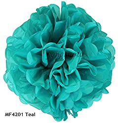 teal, 15cm : 1Pc 15cm 20cm 25cm 30cm Multicolor Pom Poms Tissue Paper Flower Ball Wedding Birthday Party Decor Festival Hall Hanging Supplies