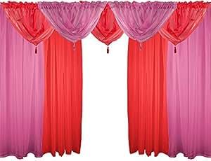 Rouge cerise & voile ensemble 9 pièces de rideaux 229 cm tige poches drapes & sa proie