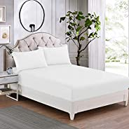 IBed home Fitted bedsheet 3pieces Set, Microfibre King size, White, W 30.4 x H 23.6 x L 6.0 cm