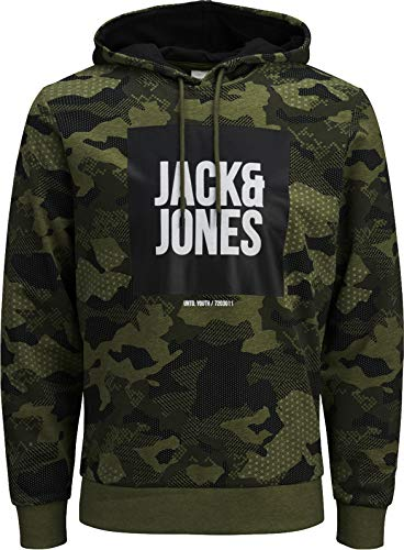 JACK & JONES Herren Kapuzenpullover Hoodie Jacket Sweatjacke Camped Core Sweatshirt Sweat Hood S M L XL XXL (M, 57 Schwarz) -