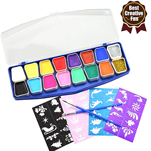 6 Farben Gesicht Malerei Kits ungiftig Gesichtsfarbe Kit für Kinder und Erwachsene, mit Professional 2 Brushes und 40 Schablonen, Vervollkommnen Sie für Karneval, Ostern, Halloween, Chistmas, Thema-Party (Gesicht Malen Halloween-ideen)