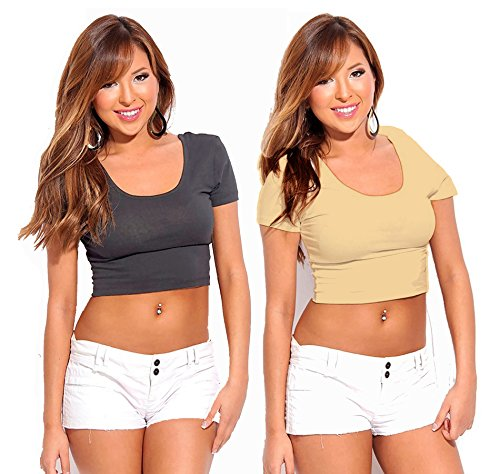 Fashion Line Cotton Lycra Crop Tshirt for Girls/Women (Grey & Beige, Pack of 2)