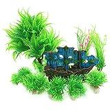 PietyPet Aquarium Wasserpflanzen Kunststoff Aquariumpflanze mit Harz Boot Höhle Fisch Tank Ornament Dekoration, 9 Stück