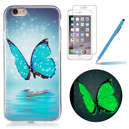 Felfy Silikon Case für iPhone 6 Plus Hülle,iPhone 6S Plus Luminous Cover Ultra Dünne Slim Silikon Etui Handy Hülle Weiche Transparente Luminous Gel TPU Back Case Leuchten In Der Nacht - Felfy Farbe Mu Schmetterling Case