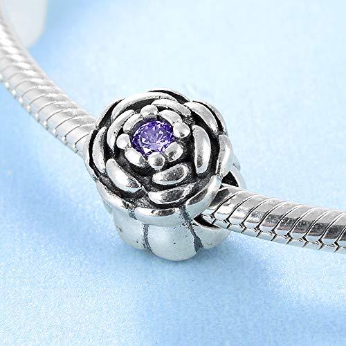 Yzhuzhimy perlina argento sterling 925 delicato zircone viola rosa accessori fai da te perline misura originale braccialetto creazione di gioielli