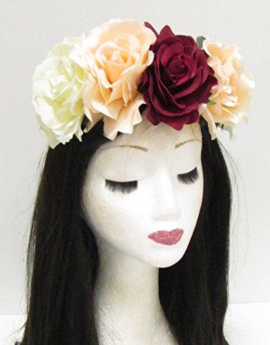Große Rot Cream Rose Blume Sugar Skull Haarband Halloween Big Hair Band 788Stil der (Haar Farbe Halloween)