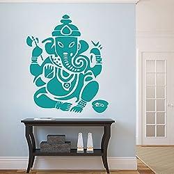 """Ganesh pared adhesivo vinilo adhesivo pared de habitación Art Decor dormitorio de Ganesha Elefante Dios Om Yoga Buda Mandala Ganapati, vinilo, verde azulado, 72""""hx60""""w"""