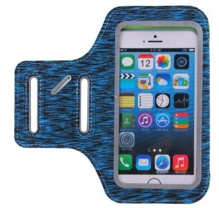 Hochelastische Kunstfaser Smartphone-Tasche zum Joggen   Stabil genähter Klettverschluss   Ultraleichtes Material   Ideal zum Fitness, Fahrradfahren, Joggen   Handy Armband Ultrasoft Sport   (Dunkelblau)