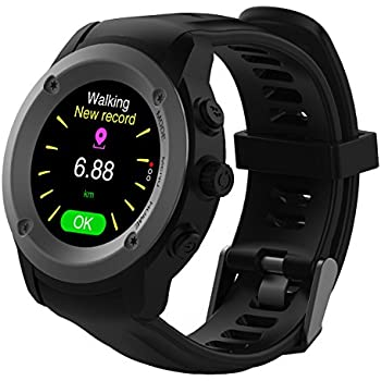 Man Woman GPS Running Watch with Heart Rate Monitor and Smart Notifications Multi-Sports Training Mode Smart Watch with 400mAh 3-4 Days Standby Time Charging Station (Black)